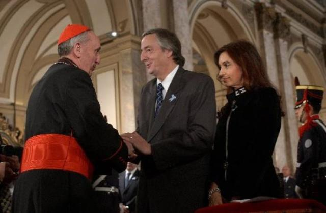 Happier times - The Kirchners attend the Te Deum mass in 2006 with then-Cardinal Bergoglio