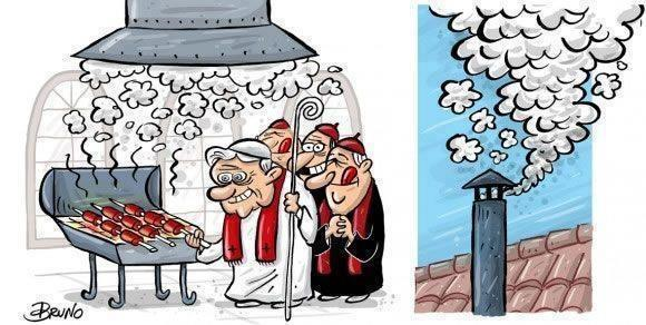 Is that smoke? Or is the Pope making an asado because he's Argentine and that's what they do? Oh, jokes.